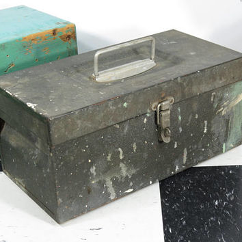 Pioneer Steel Cash Box . Tackle Box . Vintage Utility Chest . Old Tool Box . Vintage Industrial • Mid Century . Los Angeles California