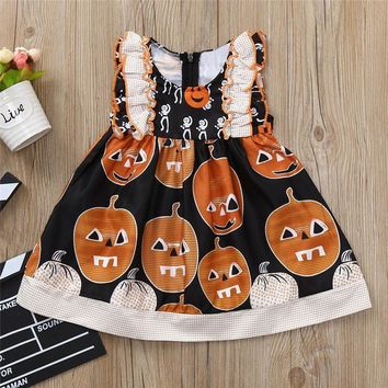 Infant Girls dresses Sleeveless O-Neck Pumpkin Print Ruched Dresses Halloween Costume Outfits Toddler Baby fiestas infantiles