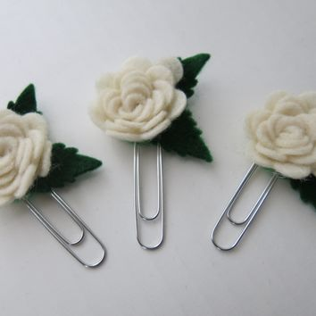 Set of 3 Ivory Rose Planner Paperclips, Felt Flower Bookmark Clip, Shower and Wedding Favors