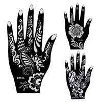 8pcs Large Mehndi Henna Tattoo Stencils 21*12cm, Flower Lace Glitter Airbrush Indian Henna Templates Stencil For Hand Painting