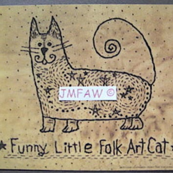 "Primitive Folk Art Print- ""Funny Little Folk Art Cat""---Copyright Lithograph Print of Original Handcrafted Primitive Folk Art Cat Stitchery"