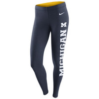 Ladies Pants & Shorts Nike University of Michigan Ladies Navy with White Print Leg-A-See Tight