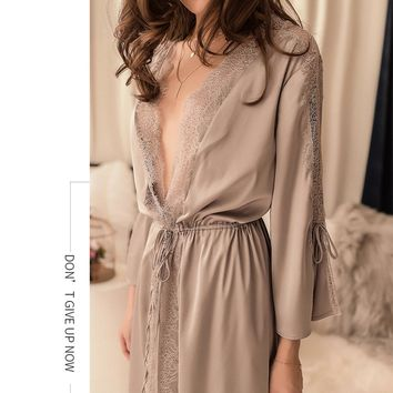 Sexy Bridesmaid Short Satin Bride Robe Lace Kimono Women Sleepwear Summer Female Bathrobe Lingerie Clothes Home Just A Robe