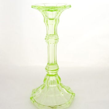 Vintage Art Deco Green Glass Candle Holder ,Lime Green Depression Glass, Dressing Table Set, UK Seller