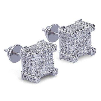 Big Square Flat Screen Block Screw Back Stud Earring