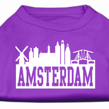 Amsterdam Skyline Screen Print Shirt Purple XXXL (20)