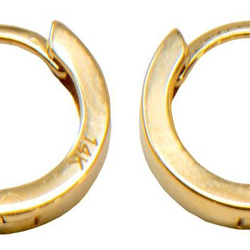 14k Yellow Gold Small Square-Tubed Classic Huggie Hoop Earrings, All Sizes