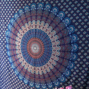 Blue Queen Size Hippie Bedspread Indian Barmeri Mandala Printed Cotton Tapestry Wall Hanging Throw Home Decorative Art