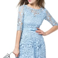 Light Blue Half Sleeve Sheer Lace Skater Dress