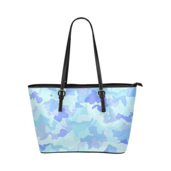 Women Shoulder Bag Camouflage Aqua Leather Tote Bag
