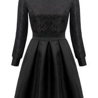Black Long Sleeve A Line Dress