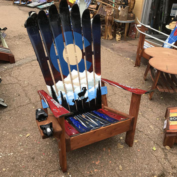 Hand Painted Bighorn Colorado Mountain Mural adirondack ski chair
