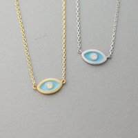 Evil Eye Necklace with Cubic  -  Available color as listed ( Gold, Silver )