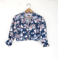 80s floral jean jacket. cropped spring denim jacket.