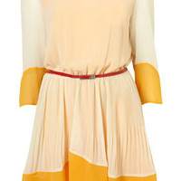 Cream Colour Block Pleated Dress - Topshop USA