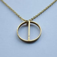 Jaeci Harmony Glyph Symbol Long Necklace in Gold