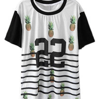 ROMWE Pineapples Print Striped Color Block White T-shirt