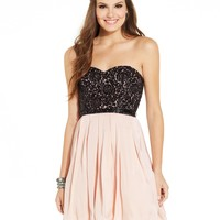 Sequin Hearts Juniors' Lace Colorblock Strapless Dress