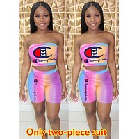 Champion tide brand female gradient letter printing set two-piece