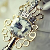 Crystal Crown with Key Pattern Vintage Necklace