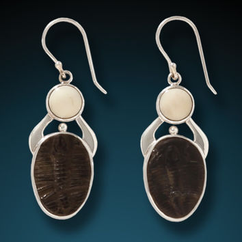 """Trilobite Scarab"" Fossilized Walrus Tusk and Trilobite Fossil Sterling Silver Sterling Earrings"