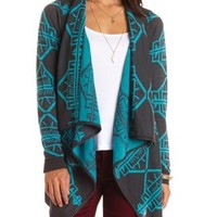 Cascade Aztec Cardigan Sweater by Charlotte Russe - Dark Gray Combo