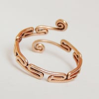 Greek fret ring  - handmade frekwork ring and curly copper wire,