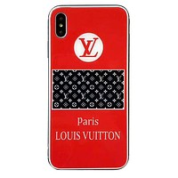 LV tide brand mirror all-inclusive anti-drop iphone7plus protective cover Red