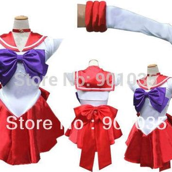 FREE SHIPPING  Sailor Moon mars Costume Cosplay Uniform Fancy Dress Up Fantasy Outfit & Gloves