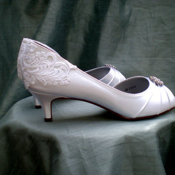 Lace Wedding shoes - Wedding shoe low heel - white lace heels - Alana