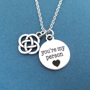 Celtic, Knot, Infinity, you're my person, Grey's Anatomy, Heart, Necklace, Promis, Friendship, Birthday, Sister, Gift, Accessory, Jewelry