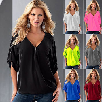 13colours NEW Fashion Women's Blouses Sexy V Neck Zipper Half Sleeve Shirts Womens Casual Loose Blouses Women Tops Plus Size 5XL