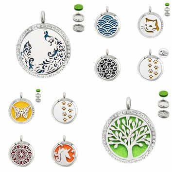 Tree of life peacock 30mm diffuser locket Perfume pendant unicorn 316 L Stainless Steel with 10pad random without necklace chain