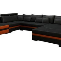 Modern Contemporary Leather Sectional with Large Chaise - Opulentitems.com