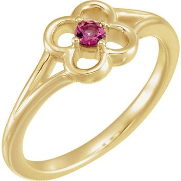 14K Yellow Gold Round Genuine Pink Tourmaline Flower Youth Ring
