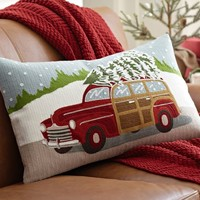 WOODY CAR EMBROIDERED LUMBAR PILLOW COVER