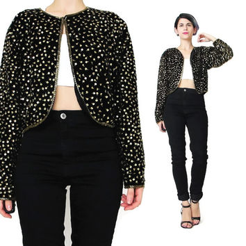 Vintage Black Velvet Sequin Jacket Sequined Evening Jacket Cropped Velvet Jacket Black and Gold Beaded Jacket Bolero Fancy Party Jacket (M)