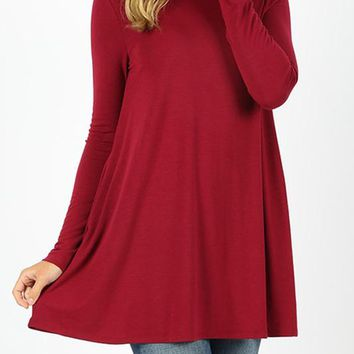 Long Sleeve Boat Neck Flared Pockets