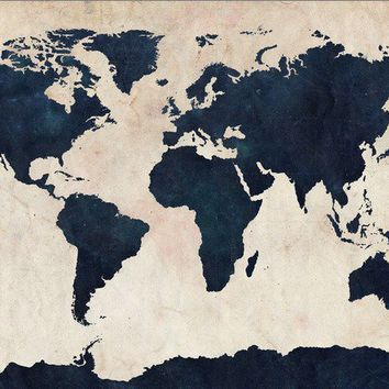 World Map Distressed