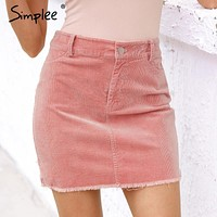 Simplee Vintage corduroy pink pencil skirt Fashion streetwear metal button zipper short skirt 2017 New autumn mini skirts womens
