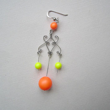 Neon Orange and Yellow Chandelier Earrings, Statement Earrings