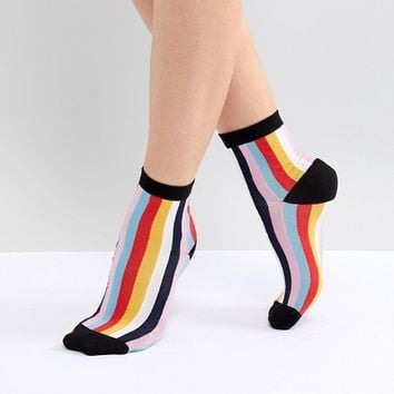 ASOS DESIGN Vertical Stripe Ankle Socks at asos.com