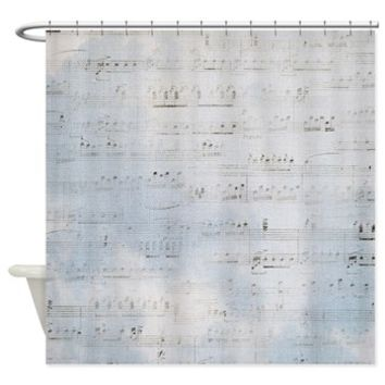 Blue Distressed Sheet Of Music Effect Shower Curta> Blue Distressed Sheet Of Music On Canvas Effect> Buy A Gift