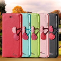 Cherry Heart iPhone 6 6 / iPhone 6 Plus Leather Flip Case