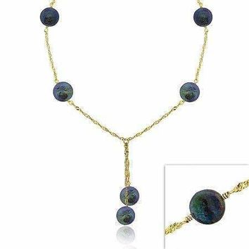 18K Gold Over Sterling Silver Iridescent Genuine Black Round Freshwater Cultured Coin Pearl Dangle Twist Necklace 16-19""""