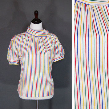 Vintage Candy Striped Blouse / Unique Collar / Rainbow Stripes / Shoulder Buttons / 1970's