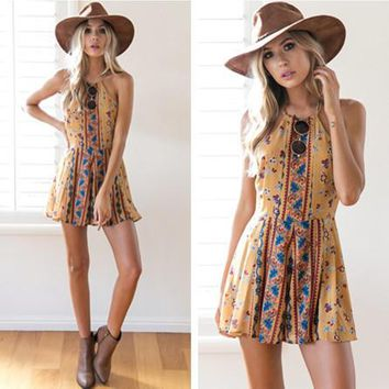 Urban Outfitters Fashion Retro Floral Print Halter Sleeveless Backless Romper Jumpsuit Shorts Dress