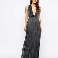 Rare Metallic Plunge Maxi Dress