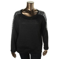 NY Collection Womens Knit Sequined Pullover Sweater