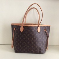 Louis Vuitton Neverfull Mm Monogram Canvas Brown Tote Bag